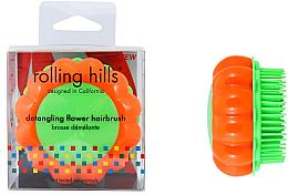 Parfémy, Parfumerie, kosmetika Kompaktní kartáč na vlasy Heřmánek, oranžový/zelený - Rolling Hills Brosse Demelante Flower