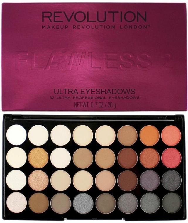 Paleta očních stínů, 32 odstínů - Makeup Revolution Ultra 32 Shade Palette Flawless 2
