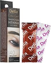 Parfémy, Parfumerie, kosmetika Prášková barva na obočí, hnědá - Delia Brow Dye Henna Traditional Brown