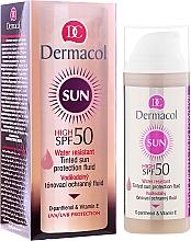 Parfémy, Parfumerie, kosmetika Voděodolný fluidum SPF 50 - Dermacol Sun WR Tinted Sun Protection Fluid SPF50