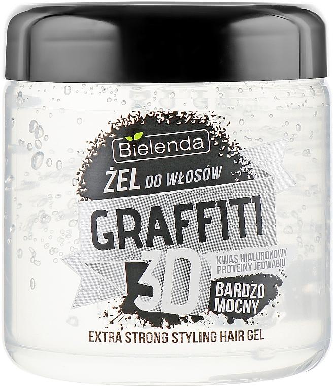 Vlasový gel s kyselinou hyaluronovou a hedvábnými proteiny - Bielenda GRAFFITI 3D Extra Strong Stayling Hair Gel