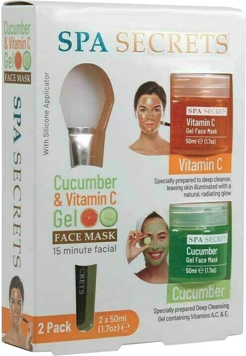Sada - Spa Secrets Cucumber & Vitamin C Gel Face Mask (mask/60ml + mask/60ml + brush/mask/1pcs)