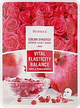 Parfémy, Parfumerie, kosmetika Látková maska s extraktem granátu a plátky růží - Deoproce Color Synergy Effect Sheet Mask Red