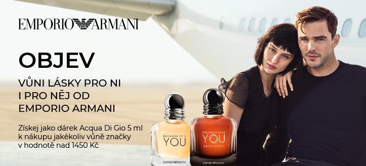 K nákupu jakékoliv vůně značky Giorgio Armani v hodnotě nad 1450 Kč získej Acqua Di Gio 5 ml jako dárek