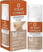 Parfémy, Parfumerie, kosmetika Opalovací péče o obličej - Ecran Sunnique Antimanchas Color Spf50+