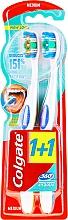 Parfémy, Parfumerie, kosmetika Zubní kartáčky Superčistota, střední, oranžový a modrý - Colgate 360 Whole Mouth Clean Medium