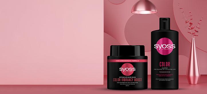 Sleva až 15% na akční produkty pro péči o vlasy Syoss. Ceny na webu jsou včetně slev