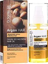 "Parfémy, Parfumerie, kosmetika Olej na vlasy ""Regenerace a ochrana"" s arganovým olejem a keratinem - Dr. Sante Argan Hair"