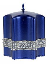 Parfémy, Parfumerie, kosmetika Dekorativní svíčka Hvězda, modrá, 9x10cm - Artman Crystal Opal Pearl