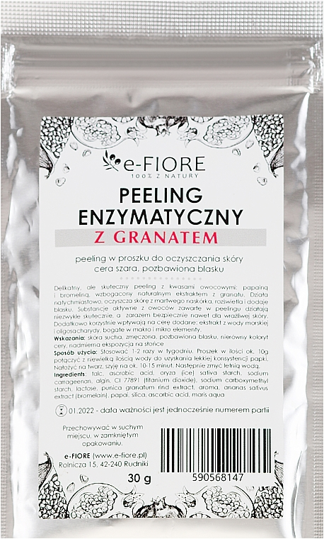Enzymatický peeling s extraktem granátu - E-Fiore Professional Enzyme Peeling Garnet&Vitamin C — foto N1