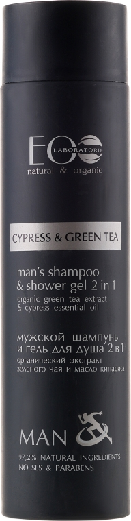 """Pánský sprchový gel a šampon 2v1 s extraktem zeleného čaje a cypřiše - ECO Laboratorie Man's Shampoo & Shower Gel 2 in 1 """"Cypress & Green Tea"""""""
