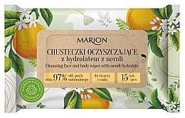 Parfémy, Parfumerie, kosmetika Čisticí ubrousky na obličej a tělo s hydrosolem neroli, 15ks - Marion