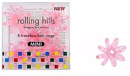 Parfémy, Parfumerie, kosmetika Gumička-náramek do vlasů, mini, průhledně růžová - Rolling Hills 5 Traceless Hair Rings Mini Transparent Pink