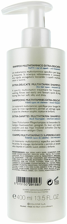 Multivitaminový šampon pro časté používání - Collistar Extra-Delicate Micellar Shampoo — foto N6