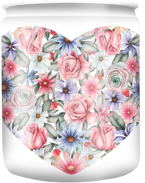 """Vonná svíčka ve sklenici s obrázkem """"White Flower"""" 82/68 - Bolsius Aromatic"""