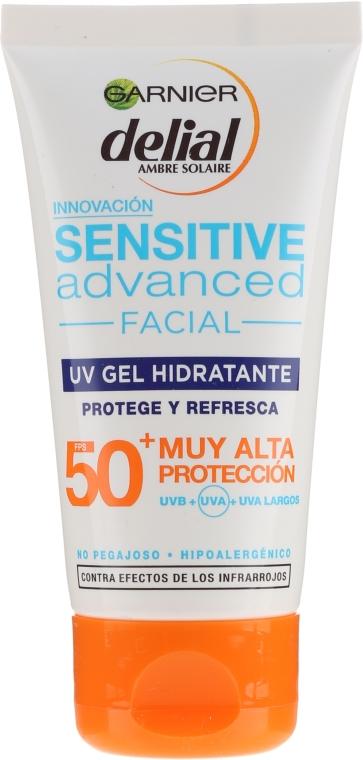 Opalovací gel na citlivou pleť obličeje - Garnier Delial Ambre Solaire Sensitive Advanced Facial Sunscreen SPF50+ — foto N1