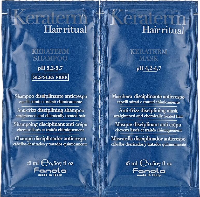 Sada testerů pro obnovu poškozených vlasů - Fanola Keraterm (shmp/15ml + mask/15ml)