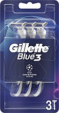 Parfémy, Parfumerie, kosmetika Sada jednorázových holicích strojů, 3ks - Gillette Blue3 Comfort Football