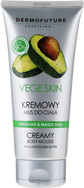 """Krémová tělová pěna """"Avokádo a bambucké máslo"""" - DermoFuture Vege Skin Creamy Body Mousse Avocado & Shea Butter"""