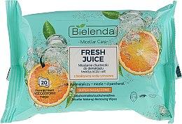 Parfémy, Parfumerie, kosmetika Odličovací micelární ubrousky Pomeranč - Bielenda Fresh Juice Micelar Make-up Removing Wipes