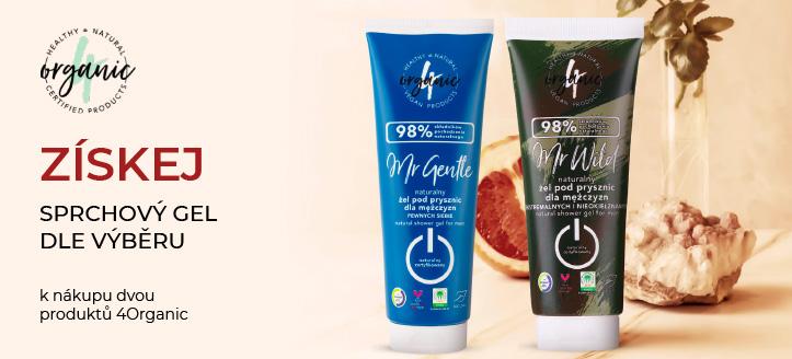 K nákupu dvou produktů 4Organic získej jako dárek sprchový gel dle výběru