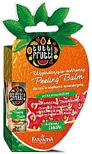 Parfémy, Parfumerie, kosmetika Balzám na rty Pomeranč a jahoda - Farmona Tutti Frutti Peeling Lip Balm Orange & Strawberry