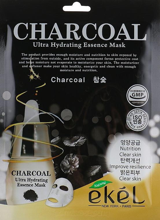 Látková pleťová maska s dřevěným uhlím - Ekel Charcoal Ultra Hydrating Essence Mask