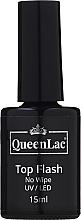 Parfémy, Parfumerie, kosmetika Vrchní lak na nehty bez lepivé vrstvy - QueenLac Top Flash No Wipe UV/LED
