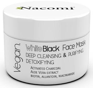 Černobílá maska na obličej s aktivovaným uhlím - Nacomi White & Black Face Mask — foto N1