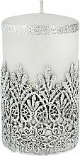 Parfémy, Parfumerie, kosmetika Dekorativní svíčka s krajkou, šedá, 7x10 cm - Artman Lace Christmas