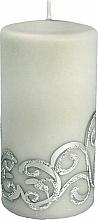 Parfémy, Parfumerie, kosmetika Dekorativní svíčka, šedá s ornamentem, 7x14 cm - Artman Christmas Ornament