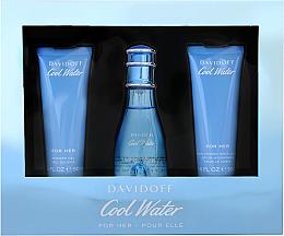 Parfémy, Parfumerie, kosmetika Davidoff Cool Water Woman - Sada (edt/50ml + b/lot/50ml + sh/gel/50ml)