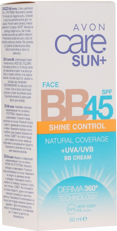 BB krém s matujícím efektem - Avon Care Sun+ Shine Control Face BB Cream SPF45