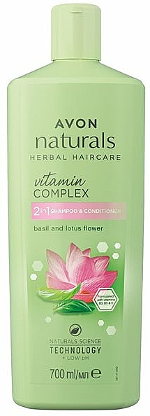 Šampon a kondicionér 2v1 Květ lotosu a bazalka - Avon Naturals Hair Care Shampoo — foto N2