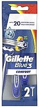 Parfémy, Parfumerie, kosmetika Sada jednorázových holicích strojů, 2 ks. - Gillette Blue 3 Comfort