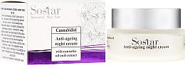 Parfémy, Parfumerie, kosmetika Antivěkový noční krém na obličej s extraktem konopí - Sostar Cannabidiol Anti Ageing Night Cream With Cannabis Extract