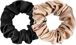 Parfémy, Parfumerie, kosmetika Sada gumiček do vlasů z přírodního hedvábí Midi - Makeup Scrunchie Set Black Gold
