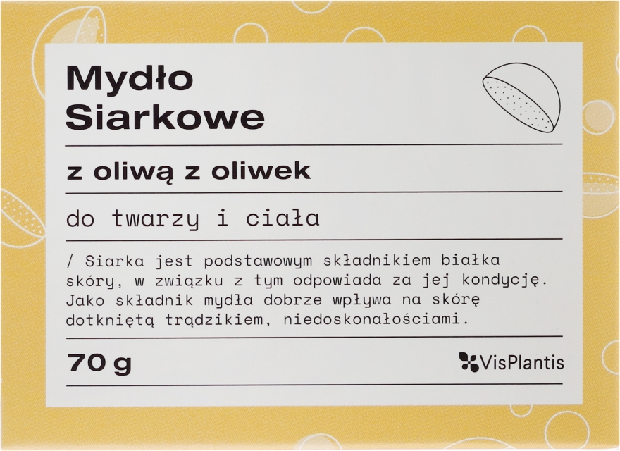 Mýdlo pro problémovou pleť - Vis Plantis Soaps Sulphur Soap With Olive Oil For Face And Body Problem Skin