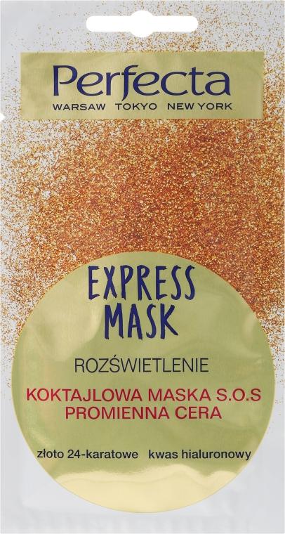 """Maska na obličej SOS-koktejl """"24-karátové zlato a kyselina hyaluronová"""" - Perfecta Express Mask"""