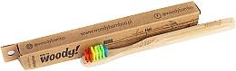 """Parfémy, Parfumerie, kosmetika Dětský bambusový zubní kartáček """"Color"""", vícebarevné štětiny - WoodyBamboo Bamboo Toothbrush Kids Soft/Medium"""