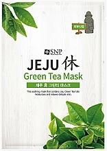 Parfémy, Parfumerie, kosmetika Zklidňující plátýnková pleťová maska se zeleným čajem - SNP Jeju Rest Green Tea Mask