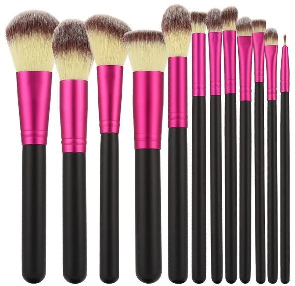 Sada profesionálních make-up štětců, 12ks, růžové s černým - Tools For Beauty