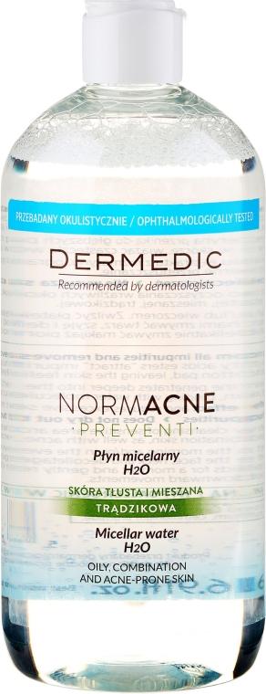 Čistící micelární tekutina pro odlíčení pro kombinovanou a mastnou pleť - Dermedic NormAcne Preventi H2O Micellaire Water — foto N5