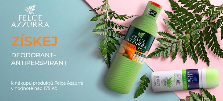 K nákupu produktů Felce Azzurra v hodnotě nad 175 Kč získej jako dárek deodorant-antiperspirant dle výběru