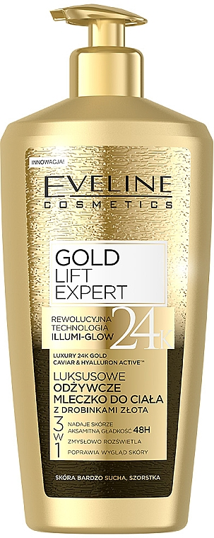 Mléko na tělo se zlatými částicemi - Eveline Cosmetics Gold Lift Expert 24K