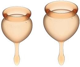 Parfémy, Parfumerie, kosmetika Sada menstruačních kalíšků s ocáskem, oranžová - Satisfyer Feel Good Menstrual Cup Orange