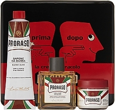 "Parfémy, Parfumerie, kosmetika Sada - Proraso Classic Shaving Metal Red ""Primadopo"" (pre/cr/100ml + sh/cr/150ml + ash/cr/100ml)"