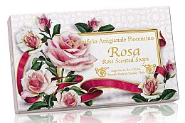 Parfémy, Parfumerie, kosmetika Sada prírodního mýdla Růže - Saponificio Artigianale Fiorentino Rosa Scented Soaps (soap/3pcsx100g)