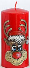 Parfémy, Parfumerie, kosmetika Dekorativní svíčka Rudolf, červená, 7x10 cm - Artman Christmas Candle Rudolf