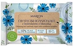 Parfémy, Parfumerie, kosmetika Čistící ubrousky na obličej a tělo s chrpovým hydrolátem, 15ks - Marion